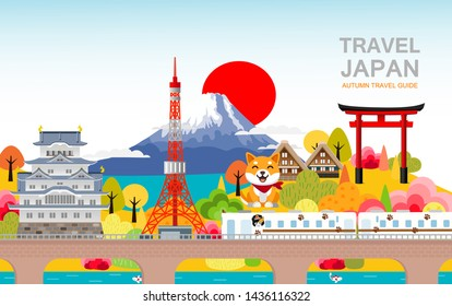 Attractions in Japan, autumn is a panoramic view. There is a train running through the castle, Tokyo Tower. With Mt. Takao Fuji and leaves change color on background.Travel Japan vector illustration.