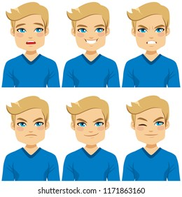 Attractive blond hair young man on six different face expressions collection with blue shirt