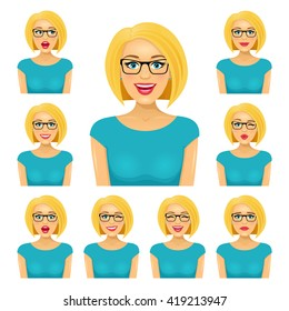 Attractive blond woman in glasses with nine different facial expressions. Vector cartoon avatar icon set on white background.