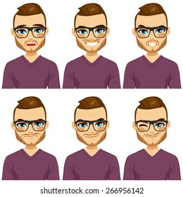 Attractive brown haired young hipster man with glasses on six different face expressions collection