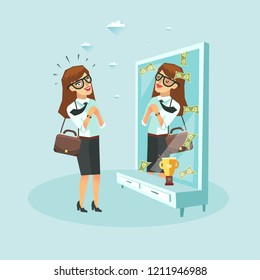Attractive business woman sees herself as rich in front of mirror reflection with golden trophy champion cup. Vector flat design illustration