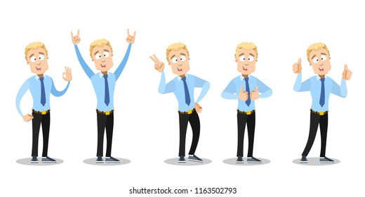 Attractive businessman showing different gestures. Office manager doing thumbs up, v sign, okay and rock hands gestures. Young man in blue shirt and tie personage. Business people vector illustration