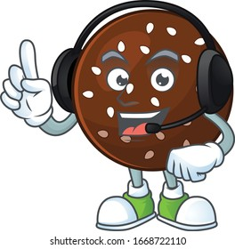 An attractive chokladboll mascot character concept wearing headphone