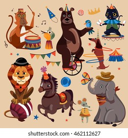 Attractive circus animals set with entertained tricks