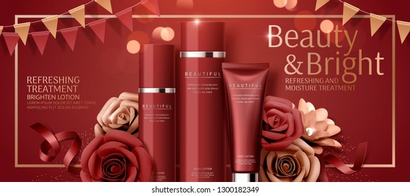 Attractive cosmetic banner ads with paper roses on red bokeh background in 3d illustration