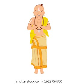 Attractive and creative design of south Indian priest wearing the traditional dhoti and gamcha in a very professional flat design of pandit.