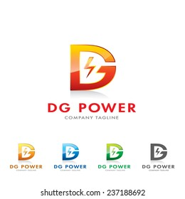 An attractive D&G letter power/electric related brand vector logo symbol.