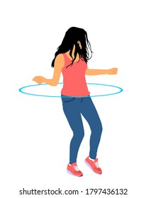 Attractive girl exercising with a hula hoop vector illustration isolated on white background. Handsome woman funny dancing with hula hoop toy and losing weight. Workout with sport tool.