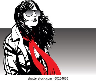 Attractive girl wearing red scarf and sunglasses in windy day