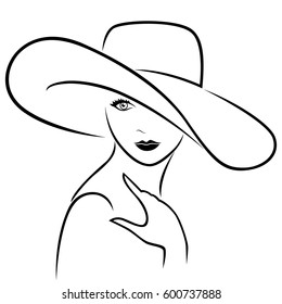 Attractive graceful young beautiful girl posing half-turn in wide-brimmed hat, hand drown vector outline