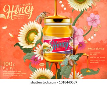 Attractive honey ads, honey dripping from top on the glass jar in 3d illustration with elegant flowers elements, etching shading style background in orange tone