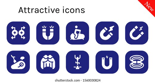 attractive icon set. 10 filled attractive icons.  Simple modern icons about  - Magnet, Magnets, Stationary bike, Magnetism, Wig, Magnetic field