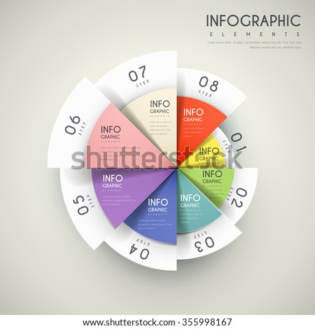 Attractive Infographic Design Pie Chart Elements Stock Vector