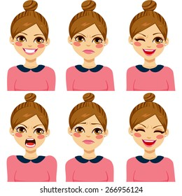 Attractive light brown haired young hipster woman on six different face expression set