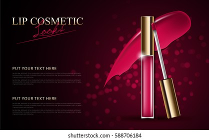 Attractive lip gloss ads, sticky and glossy liquid texture with transparent glass container in vector design illustration.