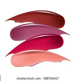 Attractive lip gloss ads, sticky and glossy liquid collection of smudged lipsticks isolated on white background vector design.