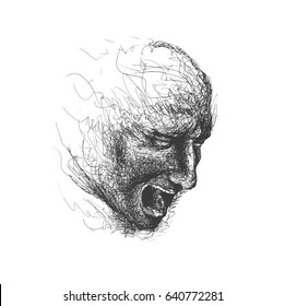 An attractive man's face dissolving into pen lines, Hand Drawn Sketch Vector illustration.