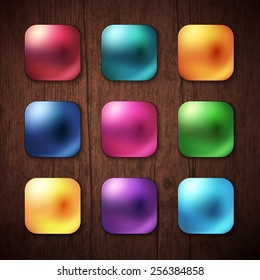 Attractive Nine Shiny Colorful Square Buttons on Brown Wooden Background. Vector illustration.