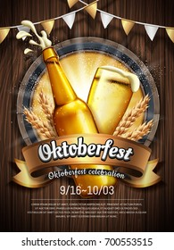Attractive oktoberfest celebration, Beer festival poster with refreshing beverage isolated on wooden plank, oktoberfest means beer festival in German