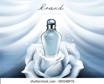 Attractive perfume ads, blue transparent glass bottle on the white rose isolated on silk background in 3d illustration