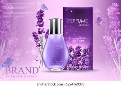 Attractive perfume or cosmetic ads, glossy glass bottle with lavender flowers and purple butterflies isolated on smooth cloth background, 3d illustration. Purple background