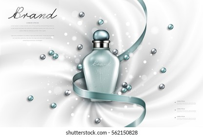 Attractive perfume or cosmetic ads, glossy glass bottle with turquoise ribbons and pearls isolated on smooth cloth background, 3d illustration