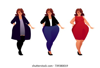 Attractive plus size woman in different fashionable outfits.