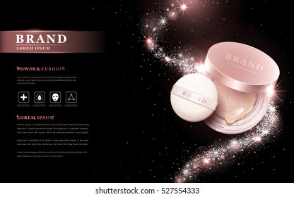Attractive powder cushion ads, beautiful products with glitter particles streamline decorations. 3D illustration.