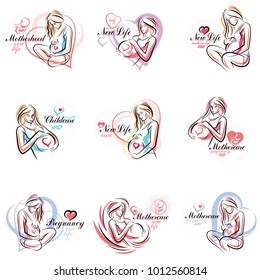 Attractive pregnant woman body silhouette drawings. Vector illustration of mother-to-be fondles her belly. Obstetrics and gynecology clinic advertising banner