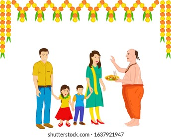 Attractive and professional design of Indian family and the Indian priest in traditional clothing with some  marigold flower decoration on the occasion of their house warming celebration.