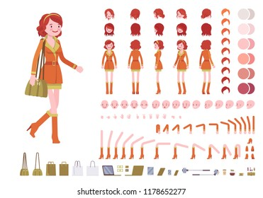 Attractive red haired lady character creation set. Ginger woman, trendy city wear. Full length, different views, emotions, gestures. Build your own design. Cartoon flat style infographic illustration
