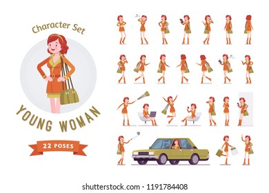Attractive red-haired lady ready-to-use character set. Ginger woman in a trendy city wear, enjoy free time, shopping. Full length, different views, gestures, emotions