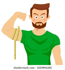 Attractive serious fit man flexing his bicep and measuring it with tape-line
