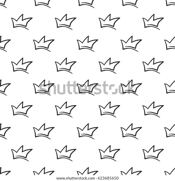 Attractive simple crown vector seamless pattern background. Beautiful illustration with hand drawn crowns. Stylish fashion backdrop for invitation and wedding decoration design.