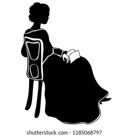 Attractive sitting girl silhouette with book. Vintage dreaming female silhouette in victorian style. Antique dress, shawl, curly combed hair, book, armchair. For posters, prints, decoupage, design