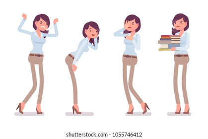 Attractive unhappy young woman in buttoned up shirt and camel skinny chino trousers, negative emotions. Business stylish workwear trend and office city fashion. Vector flat style cartoon illustration