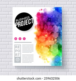 Attractive Web Template with Abstract Colored Graphic Designs for Business Project on White Brick Wall Background.