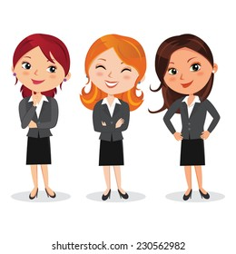 Attractive woman in business outfit. Vector illustration of beautiful women in various poses.