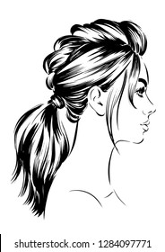 attractive woman with high ponytail hairstyles