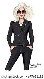 Attractive woman wearing leather jacket - vector illustration