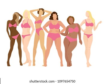 Attractive women posing. Bodypositive illustration of diffrent body types