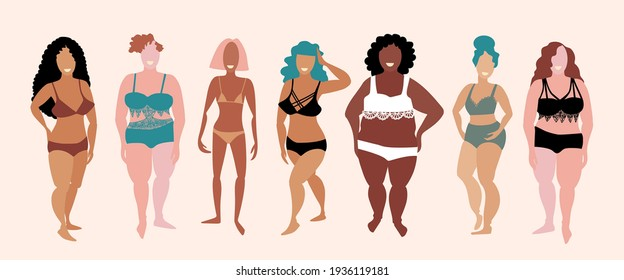 Attractive women posing. Multiracial women of different figure type and size. Body positive movement and beauty diversity. Hand drawn sketch. Vector