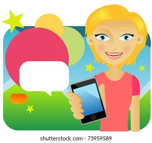 Attractive young female advertising cellphone against colors background