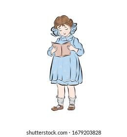 Attractive young girl dressed in blue dress holds open book and reads. Little clever student.