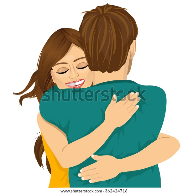 attractive young hispanic woman hugging her man