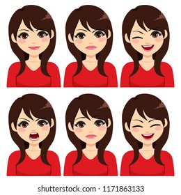 Attractive young long hair brunette woman on six different face expressions set