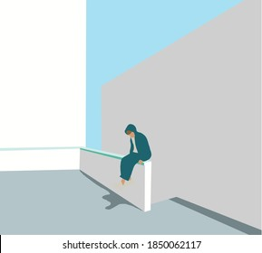 Attractive young man in green hoody coat who lost job abandoned and lost in depression sitting on white wall, looking away suffering emotional pain, crying alone.