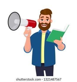 Attractive young man holding a megaphone or loudspeaker and and holding or reading a book, document, file in hand. Announcement, advertisement concept illustration in vector cartoon flat style.