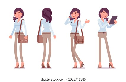 Attractive young woman in buttoned up shirt and camel skinny chino trousers, standing pose. Business stylish workwear trend and office city fashion. Vector flat style cartoon illustration, front, rear