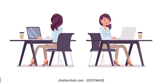 Attractive young woman in buttoned up shirt and camel skinny chino trousers, working at desk with computer. Business stylish workwear trend, office city fashion. Vector flat style cartoon illustration